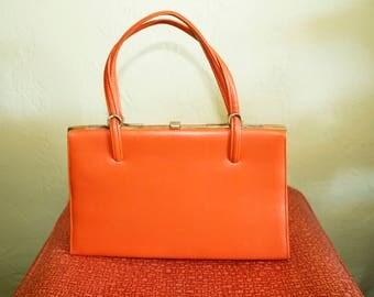 1950s Purse- Orange Leather- Handbag-