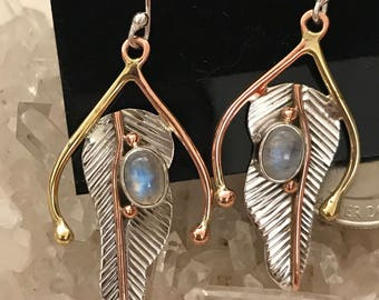 Blue Moonstone Abstract Earrings