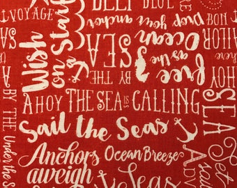 White Words on Red Background, By the Sea by Dani Mogstac 100% Cotton