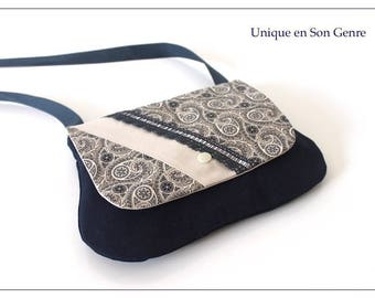 One of its kind Navy Blue Arabesque print shoulder pouch