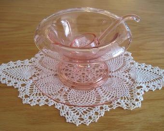 Pink Depression Glass Mayonnaise Set - Item #1538
