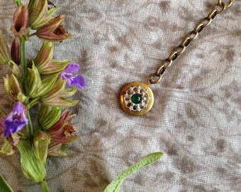 Vintage Brass Locket with Antiqued Brass and Chain