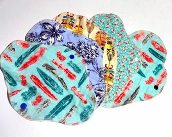 "6 Pack 9.75"" Long REUSABLE CLOTH PADS/Bamboo & Cotton Flannel Pads Set"