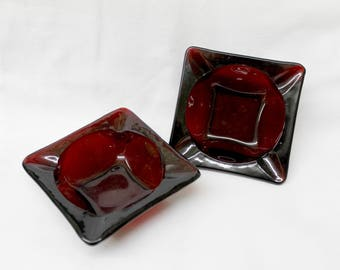 TWO 2 Vintage Anchor Hocking Ruby Red Glass ASHTRAYS square stacking ashtray matching set