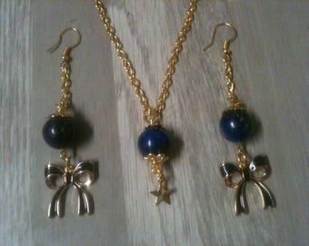 Parure bleu bijoux mariage nœud étoile Lapis Lazuli/ collier en pierre bleu + Boucles d'oreille pierre bleu /perles lapîs Lazuli