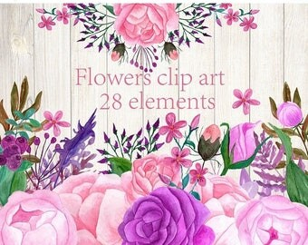 40%SALE Watercolor flowers clip art,Pink flowers,Roses flowers,Separate flowers,DIY wedding,Invitation clipart,Designers resource,Floral cli