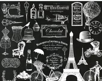 """40%SALE Chalkboard Paris clipart: """"CHALKBOARD CLIP Art""""  wedding ciip art Paris Clip Art Eiffel Tower Vintage Paris clipart cafe de Paris cl"""