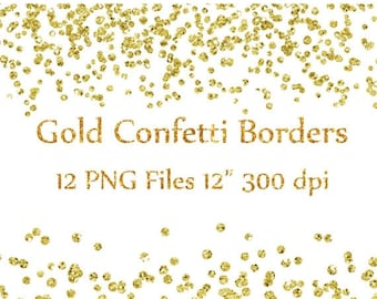 "40%SALE Gold Confetti Borders clipart: ""GLITTER CONFETTI Clipart"" Glitter Confetti Clip art  Glitter  Borders Overlays High Res Instant Down"
