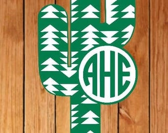 Arrow cactus monogram decal, Cactus monogram decal, Cactus decal, monogram decal, Circle monogram decal, Arrow monogram decal, plant decal