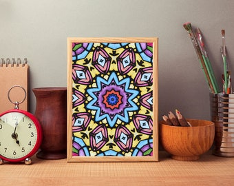 Kaleidoscope Butterfly Stained Glass Print 2