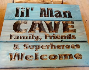 Lil Man Cave Carved Sign FREE SHIPPING in the USA
