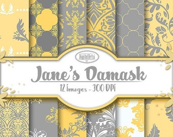 50% OFF Grey and Yellow Damask Digital Paper - Damask Printable - Instant Download - Seamless Grey and Yellow Damask Pattern