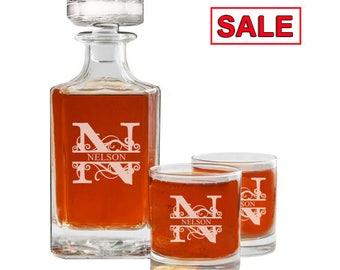Whiskey Decanter Set, Personalized Whiskey Decanter, Engraved Whiskey Decanter, Whiskey Glasses, Husband Gift, Groomsmen Gift