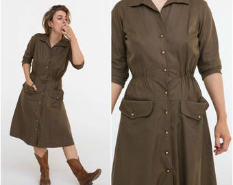 1940s Button Up Dress / Military Style / Size M