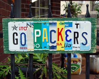 GO PACKERS, Green Bay football license plate sign