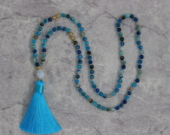 Blue agate bead necklace blue necklace tassel necklace aagate beads necklace long tassel necklace faceted opal pendent necklace NL-055