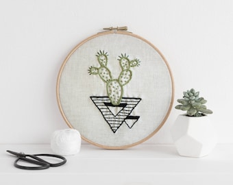 Abstract Cactus Embroidery -  Prickly Pear // MADE TO ORDER