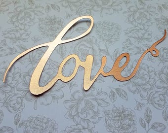 "Rose gold Calligraphy ""Love"" Cake Topper - Great for Wedding, Valentines Day ,Birthday Party, Baby Shower, Anniversary Cake Decorations"