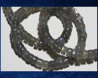 """Labradorite - 14"""" strand of smooth round heishi 3x5mm natural grey and blue luxe gemstone beads.  #LAB-050"""