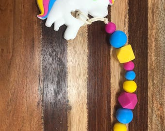 Silicone beaded clip, 100% food grade silicone, unicorn, yellow blue and pink, sensory, pacifier clip