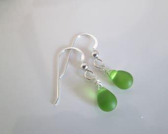 Green Seaglass Earrings, Bottle Green earrings, Sea glass earrings, green silver earrings, tiny green earrings, small green earrings