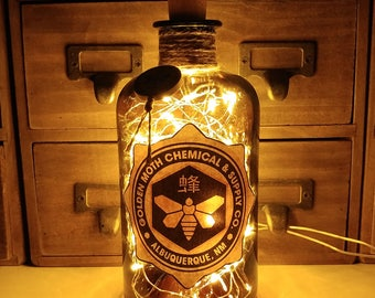 Breaking Bad Golden Moth Chemical Company CH3NH2 500ml LED Bottle Lamp Light by JayEngrave