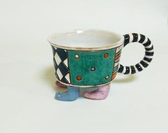 Small ceramic tea mug with legs -  Handmade Pottery Mug - Handmade Tea cup - Handmade Ceramic Tea Cup - Handmade Espresso Cup - Espresso cup