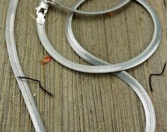 Vintage Sterling Silver Herringbone Chain