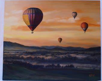 Original oil painting Flight landscape original art fine original painting original artwork handmade home decor oil on canvas air balloon