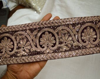 Purple Indian Embroidered Laces and Trims Saree Border Fabric Trim By The Yard Wholesale Trimmings Ribbon Indian Sari Border gold
