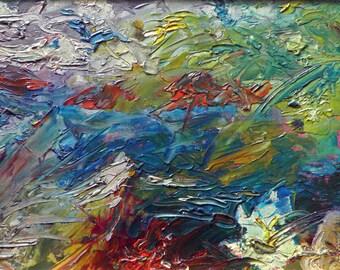 Oil painting. Landscape palette knife. Island