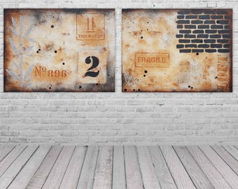 Contemporary industrial modern diptych painting