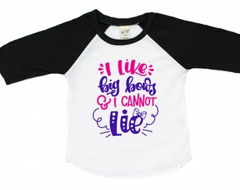 big bow shirt - I like big bows and I cannot lie - baby girl raglan - cute girl clothes - toddler girl - pink and purple - baseball tee