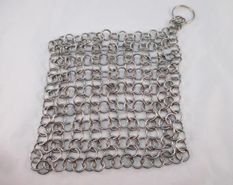 Stainless Steel Pot Scrubber - Handmaid 20 gauge Chainmail - Cast Iron, Stoneware Cleaner - Japanese 4 in 1 Style - Crystal Cave