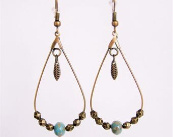 Drop earrings turquoise faceted beads