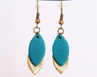 Emerald green and gold leather earrings