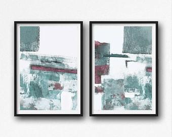 Scandinavian abstract, Printable Art, rose and mint, Art Poster, Digital Download, Wall Decor , modern abstract, Industrial Decor
