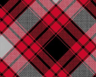 Red Plaid Flannel, Quilting Fabric, Red/Gray/Black, Clothing/Apparel Fabric, Sewing Material, Home Decor/Craft Supplies, Yard/Half Yard