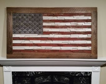 Wood flag etsy for Local reclaimed wood