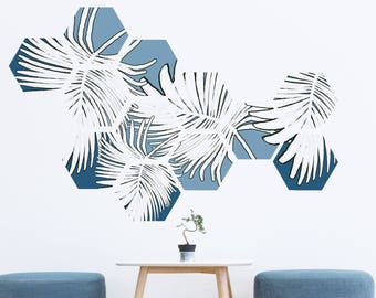 Palm Leaves Removable Honeycomb Wall Decal, 8 Hexagon Stickers per pack, Self Adhesive Canvas Art Sticker, Geometric Design