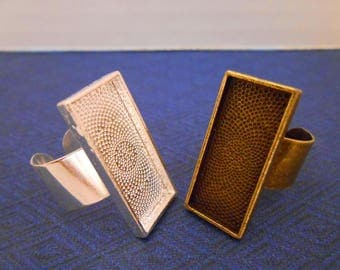 5 Bronze or Silver Ring Blanks Adjustable Ring Base Silver Plated 10x25 mm Rectangle Ring Cabochon Bezel Resin Ring Setting Jewelry Supplies