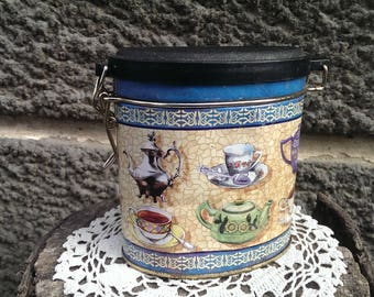 Set of 3 Vintage Tea Box, Tea box, Vintage Decorated tea box with Lid, Storage Tin, Rustic Kitchen Decor, Gift Idea