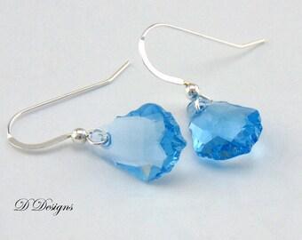 Blue Crystal Earrings, Swarovski Crystal Earrings, Sterling Silver Earrings,Gifts for her. Valentines Day Gifts, Dangle earrings