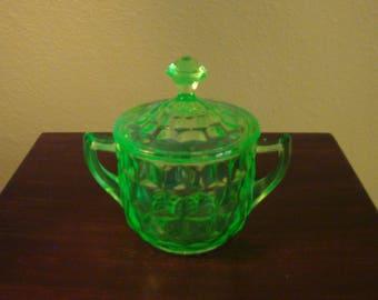 Vintage Jeannette Uranium Vaseline - Cube Sugar Bowl With Lid (1940s)