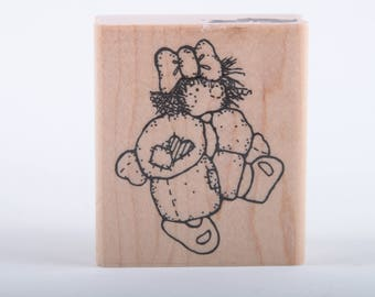 Cute Girl With Big Bow, Pretty, Vintage Stamp, Card Making, Scrapbooking, Single Stamp, JRL Design, Wood Mounted ~ 160921C