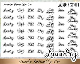 Laundry Script Planner Stickers