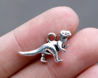 set of 50, dinosaur charms, antique silver, metal charm, 22mm × 12mm, bulk charms, cute dinosaur charms,