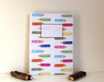 Notebook Pencils Pattern - A5 Notebook - Lined Notebook - Notebook Recycled Paper.