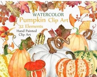 "ON SALE 30% Watercolor pumpkin clipart: ""AUTUMN Clipart"" Fall clipart Autumn leaves Harvest clipart Pumkin Clip Art Thanksgiving clipart Diy"