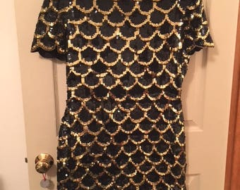 Vintage black and gold sequined dress.  Silk and rayon